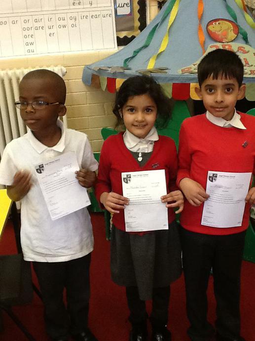 Silver attendance awards.