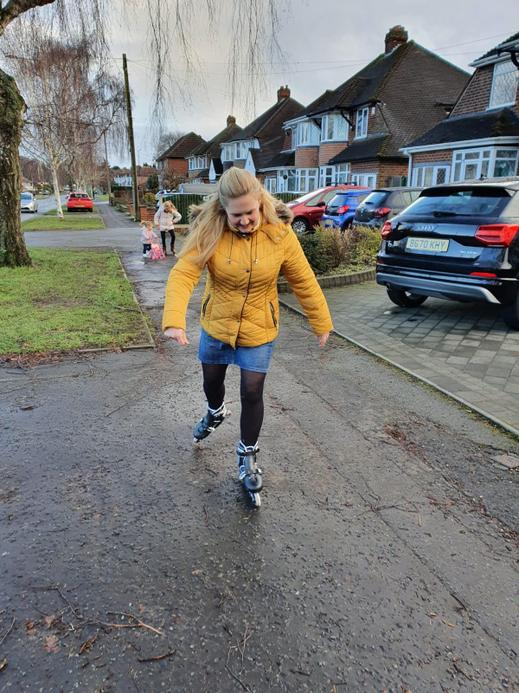 Mrs Westaway a teacher in Year 1 who had roller blades for Christmas!