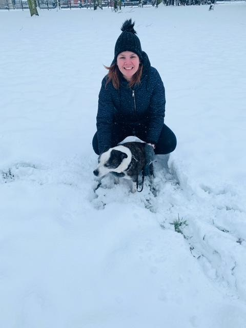 Mrs Winstanley, a TA in KS2 who loves to be outdoors in all weathers