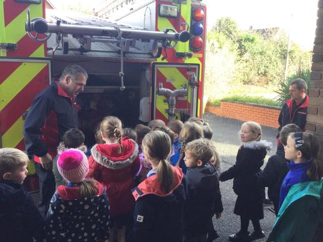 We looked at all the equipment on the fire engine