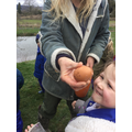 This egg had just been laid it was still warm!