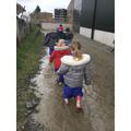 We loved walking through the mud!