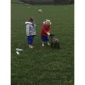 We fed this lamb some milk.