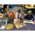 We read lots of books with our friends.