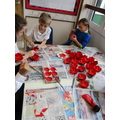 We painted poppies for the church display.