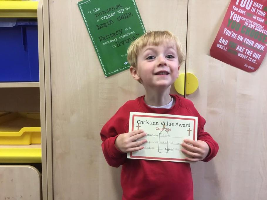 Well done Yann for having such a fantastic week and coming into school with courage!