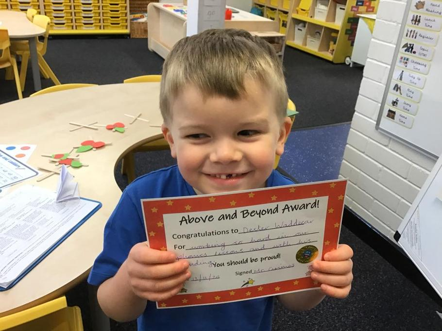 13.11.20 - Well done Dexter for trying so hard in his lessons, especially phonics!