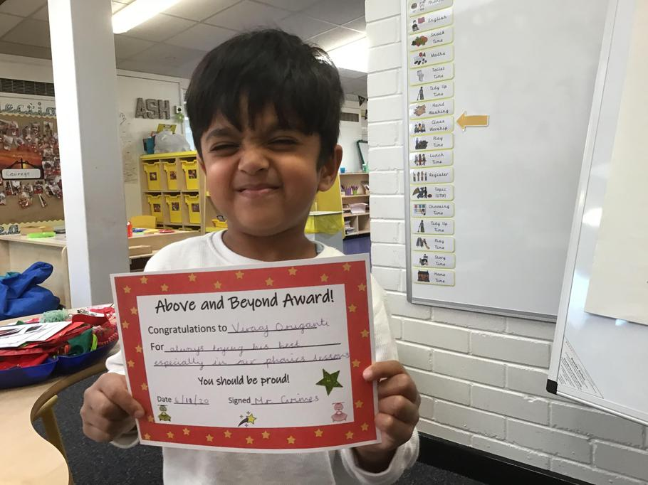 06.11.20 - Well done Viraaj for always trying his best, especially in phonics!