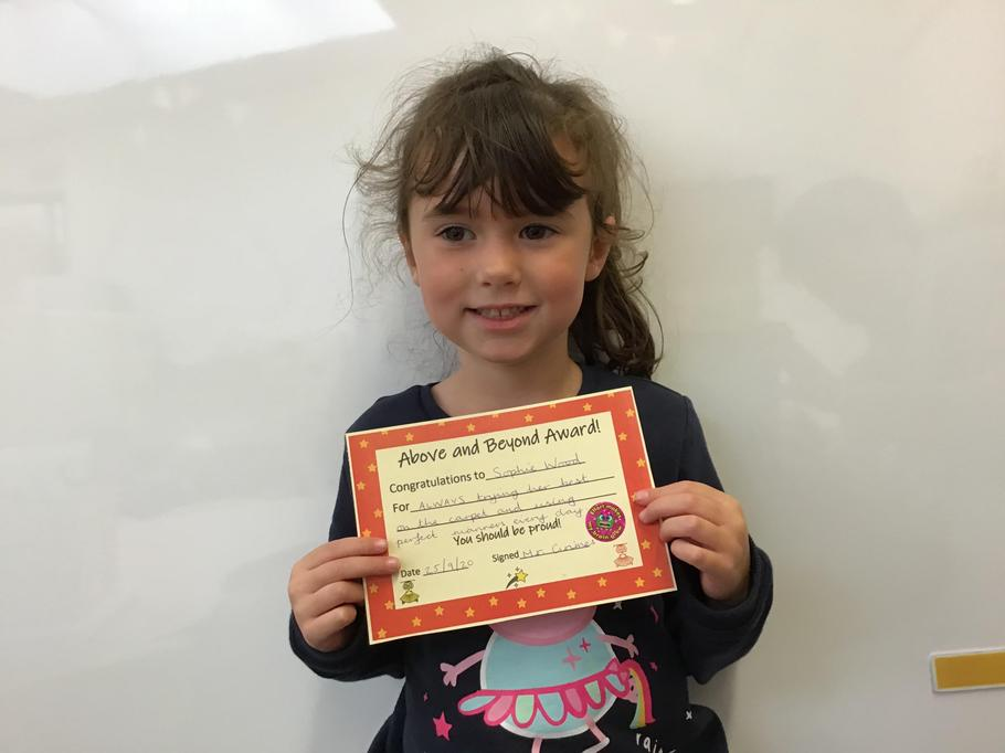25.09.20 - Well done Sophie for setting the best example for her classmates in every way!
