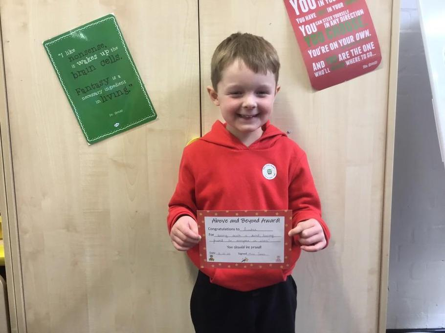 Well done Archie for being such a kind, thoughtful role model for our class!