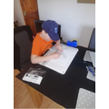 Ewan drawing his WW2 plane