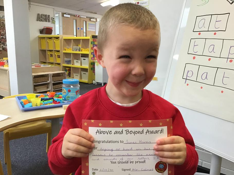 02.10.20 - Well done James for your hard word during phonics!