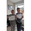 It happened again! Both boys got Star of the week!