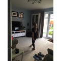 Lauren doing her virtual dance lessons