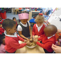 EN: Adding the shredded wheat. 'It's crunchy!'