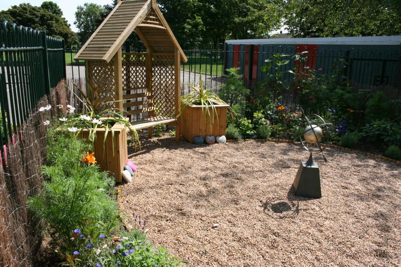 We have an arbour and planters