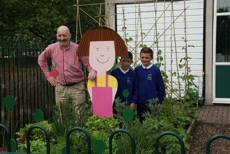 Nick with them in Daisy's garden.