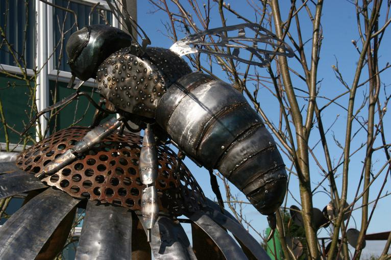 The sculpture reminds us to care for bees