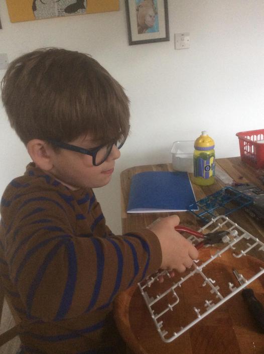 Ollie beginning his salt water engine project.