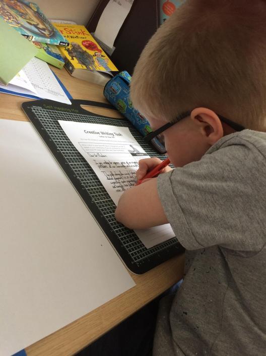 Matthew writing a story