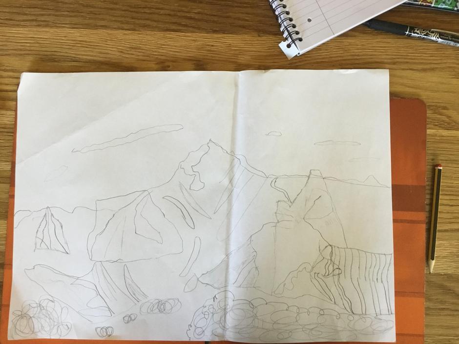 Finn's mountain drawing.