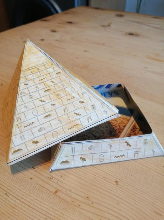 Isabel's completed Egyptian pyramid