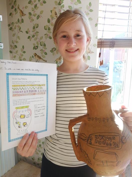 Isabel's completed ancient Greek vase - brilliant!