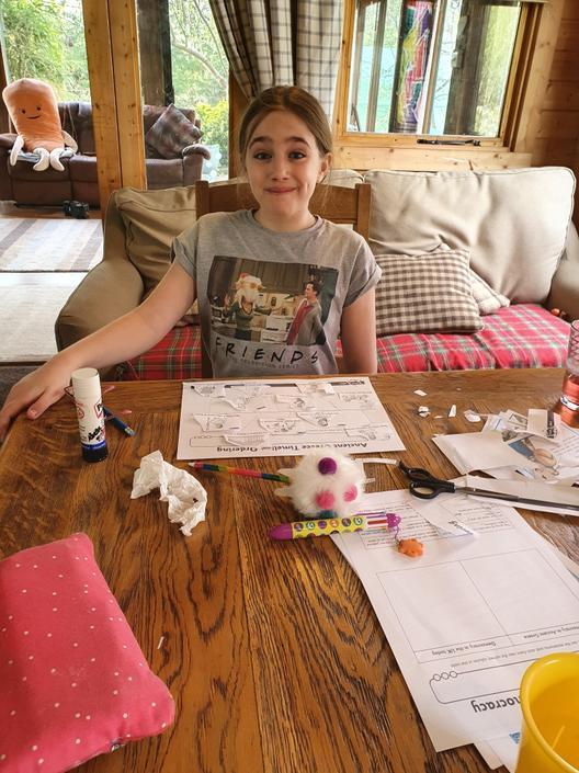 Aurora creating her Ancient Greece timeline.