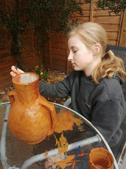 Isabel's Greek pot is coming on well.