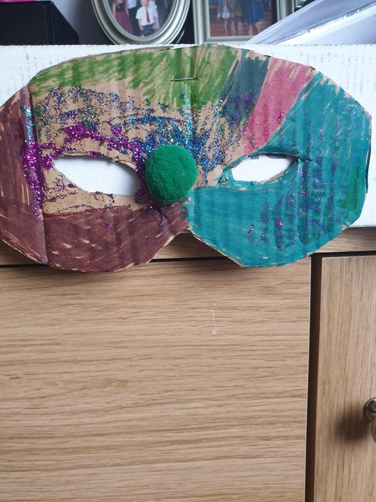 Luca's beautiful Mayan mask!