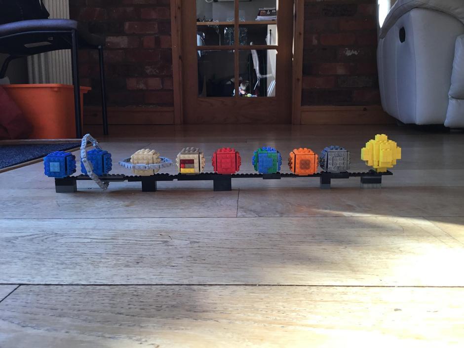 Finn's Lego model of the solar system.
