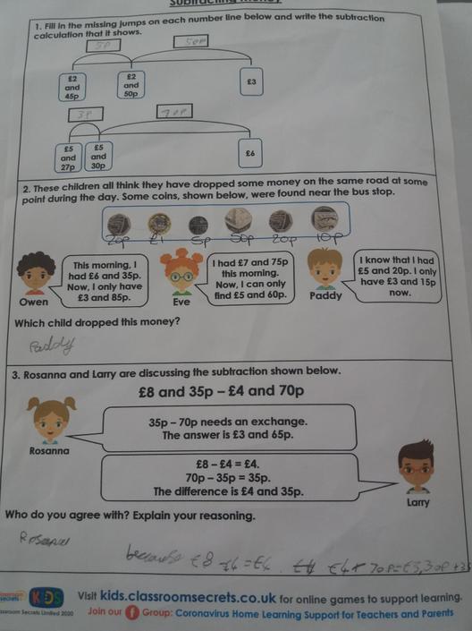 Aiden's Maths Work