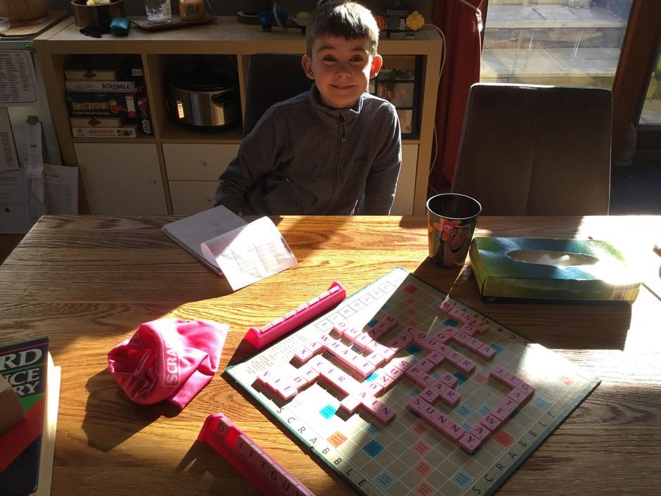 Finn playing Scrabble with mum!