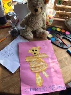 After show and tell. A lovely drawing of 'Charlie Bear'