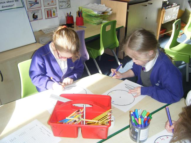 First we wrote the numbers on the clock face.