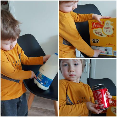 Finding the recycling symbol on packaging round the house, super looking Kacper!