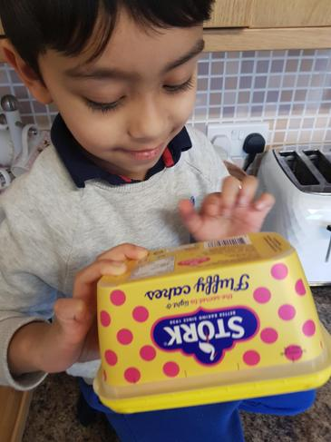 He found it on a tub of margarine too!