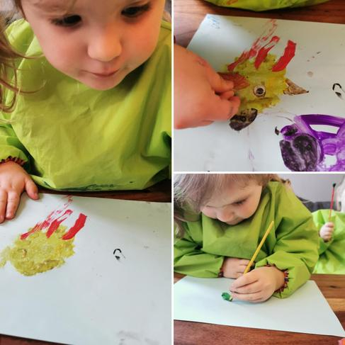 Lena creating her beautiful 'oops' picture.