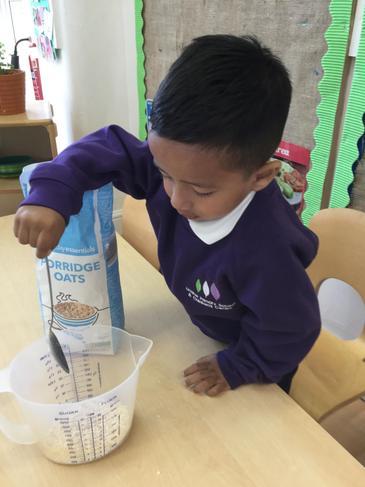 We made porridge for snack.