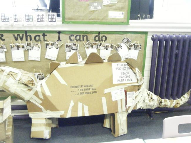 First we made the cardboard structure.