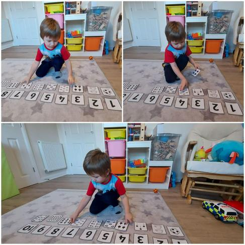 Kacper is playing matching number game.