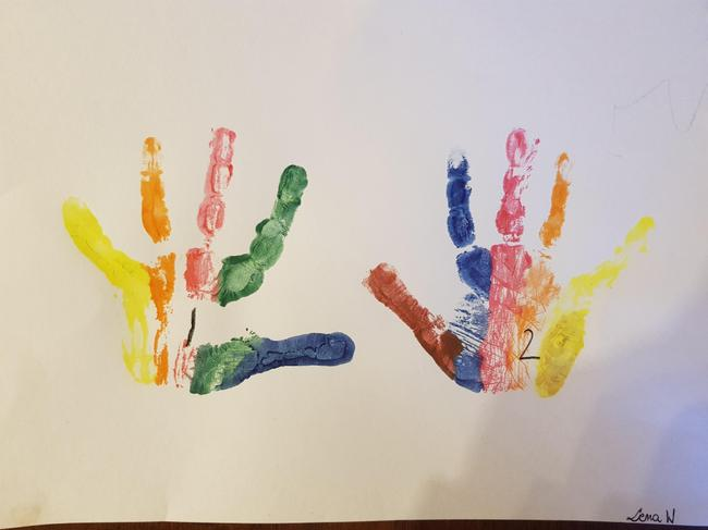 Lena W's rainbow hands - counting to 2.