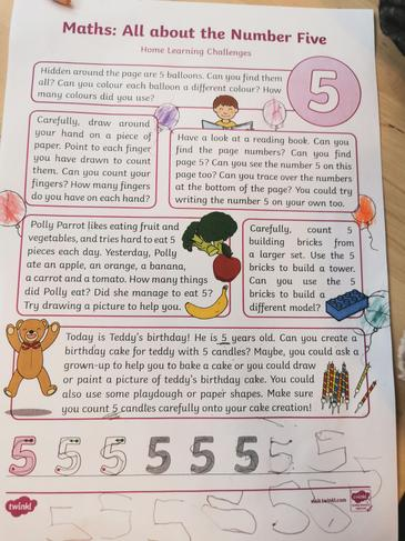Home learning challenges for the number 5.