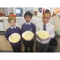 Proving the potato bread using yeast.