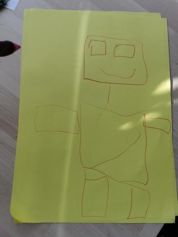 Drawing a robot using squares.