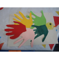 We made these handprint birds for the display