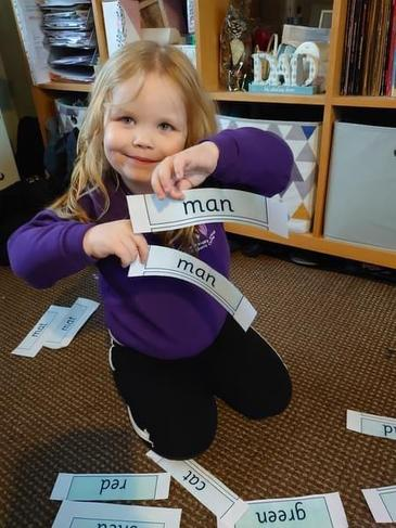 Reading and matching up the green words