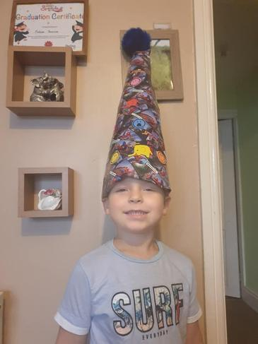 A home made hat after watching Ms C's story about hats