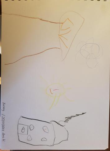 Lena W's picture of a house and a tree.