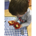We noticed that we can match halves to make whole fruit!